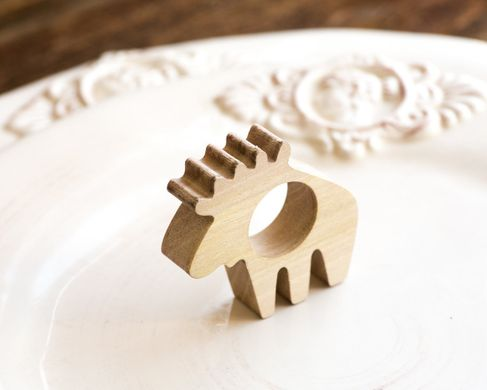 Napkin ring Moose wooden SET of 4 solid wood for your considered setting wedding or theme party