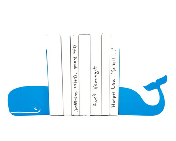 Artistic Bookends «Whale» light blue color by Atelier Article