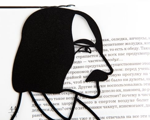Unique metal bookmark Portrait of Gogol by Atelier Article, Black