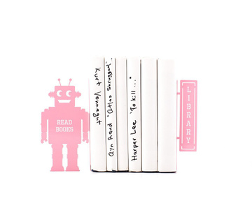 Nursery Bookends «Robots read too II» Pink edition by Atelier Article, Pink