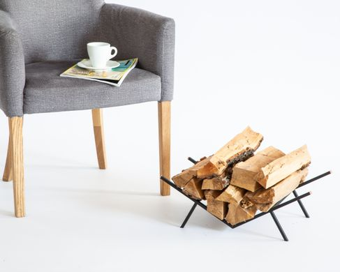 Compact Log Holder with copper accents // Firewood stand for indoors or outdoors