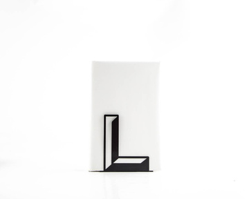 One metal bookend L -Letters are beautiful- alphabet series use to spell initials by Atelier Article, Black