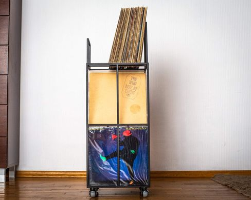 LP storage Triple deck Album crate cart // container holds up to 210 LP records // free shipping