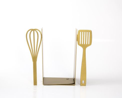Unique Bookends «Spatula & Whisk» for your kitchen by Atelier Article, Golden