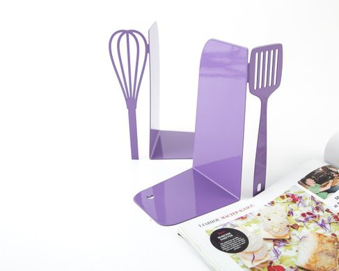 Metal Kitchen Bookends «Spatula and whisk» light purple edition by Atelier Article, Purple