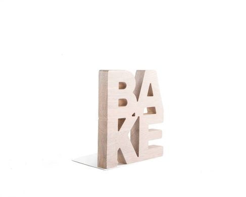 Wooden kitchen bookends // BAKE // modern functional kitchen decor // FREE SHIPPING
