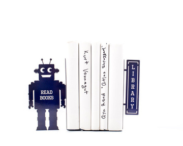 Nursery bookends «Robots read too II» by Atelier Article, Navy
