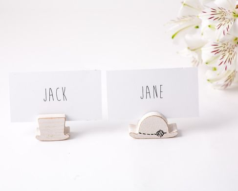 Rustic Place or business card holder SET of 30 by Atelier Article, White
