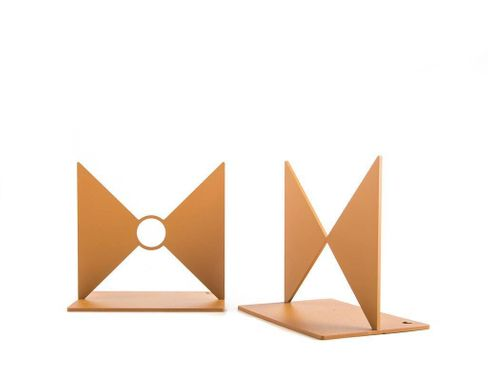 "Metal Bookends ""Butterflies"" gift for a reading Bauhaus design lover by Atelier Article, Golden"
