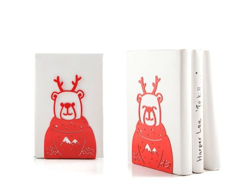 Decorative bookends / Christmas Bears / by Atelier Article, Red