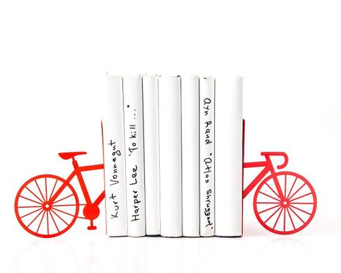 "Metal Bookends ""Bicycle"" by Atelier Article, Red"