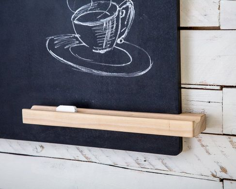 Black board slate shelf organizer for hall and office. Natural wood. Handpainted