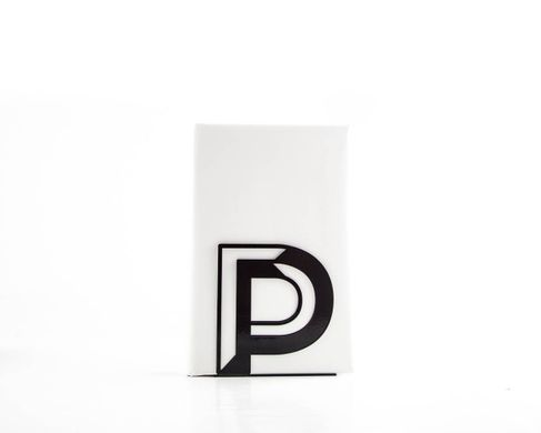 "One bookend Alphabet ""P"" metal by Atelier Article, Black"
