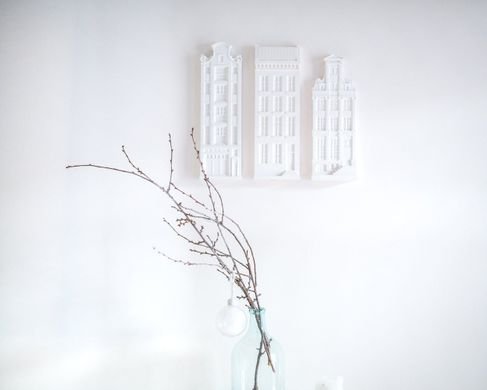 Three Architectural plaster models // Facades of Amsterdam Houses by Atelier Article, White