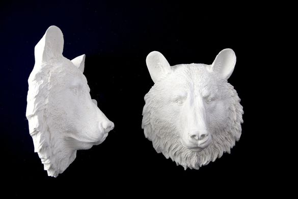 "Wall decor Faux Taxidermy ""Bear head"", White"
