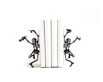 "Metal bookends ""Dancing Skeletons"" by Atelier Article, Black"