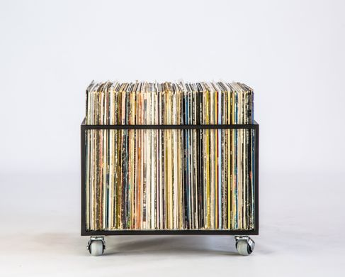 LP storage // Album crate // Record box on rotating wheels // container holds from 70 LPs // free shipping