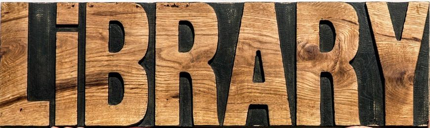 Sign Library // wooden retro style sign carved in salvaged wood hand painted // by Atelier Article, Assorted