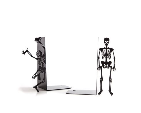"Horror movie bookends ""Dancing Skeletons"" by Atelier Article, Black"