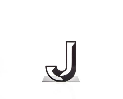 One metal bookend J -Letters are beautiful- alphabet series by Atelier Article, Black