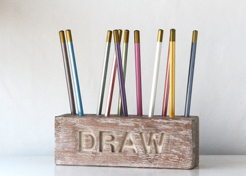 Pencil holder // Desk organizer for pencils, brushes and pens // by Atelier Article, Beige