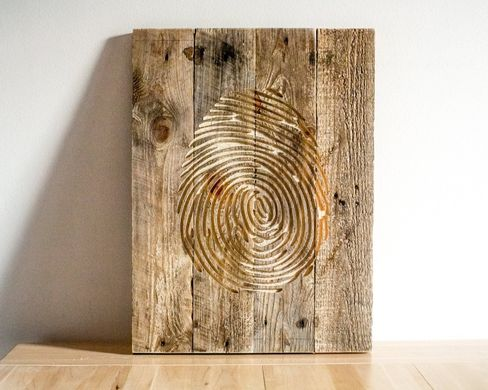 Wall Art // Fingerprint // Carved Wooden Wall Hanging for a Modern home // by Atelier Article, Beige