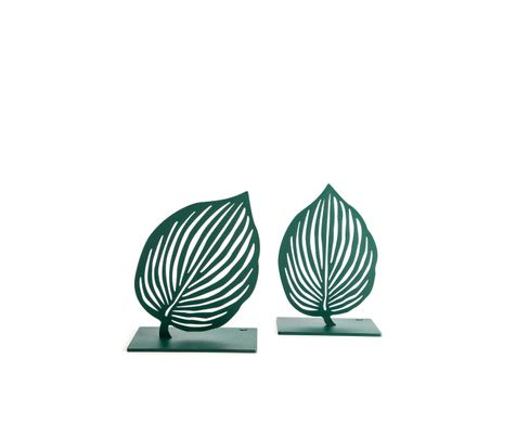 "Metal Bookends ""Green Leaves"" by Atelier Article, Green"