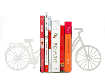 "Metal Bookends ""My white bike"" by Atelier Article, White"
