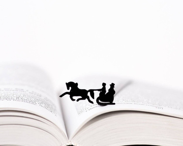 "Metal Bookmark ""Winter sleigh"" by Atelier Article, Black"