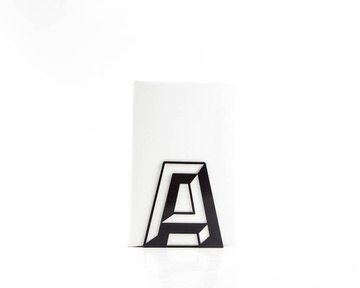 One metal bookend A -Letters are beautiful- alphabet series by Atelier Article, Black