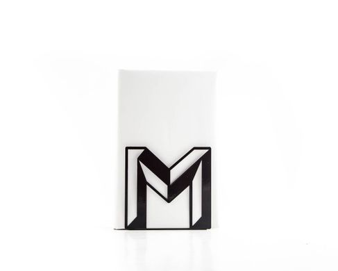 One metal bookend M -Letters are beautiful- alphabet series by Atelier Article, Black