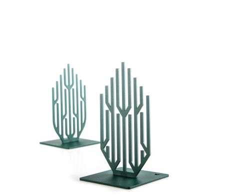 "Metal Bookends ""Green Growth"" Functional Shelf Decor by Atelier Article, Green"