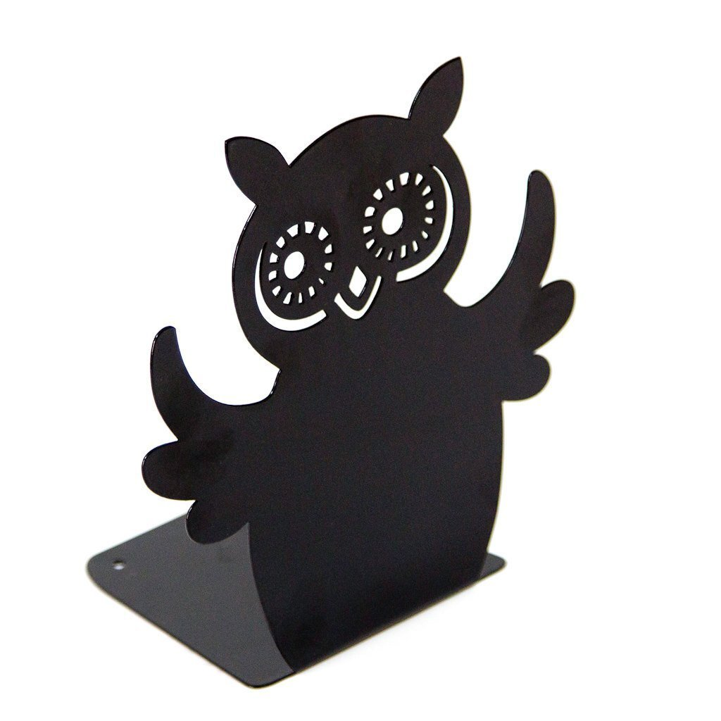 Decorative metal Bookend «Owl reader» by Atelier Article, Black