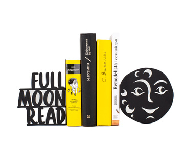 Black metal bookends Full Moon Read, Black