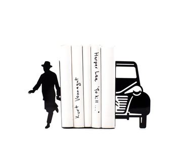 Unique Metal Bookends «Writer and his car» by Atelier Article, Black