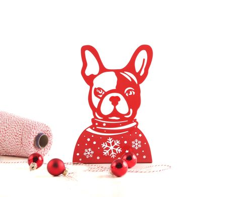 Metal Bookend // French Bulldog // Xmas edition // by Atelier Article, Red