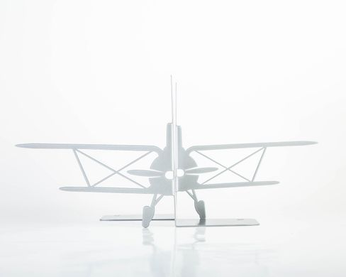 «Retro Airplane» Metal Bookends Biplane by Atelier Article, Silver