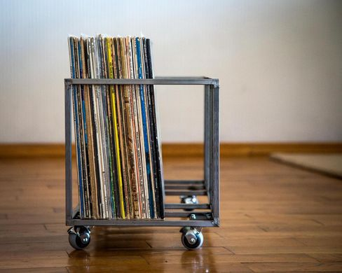LP storage // two row cage for LPs storage on four wheels by Atelier Article