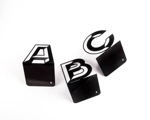 One metal bookend B -Letters are beautiful- alphabet series by Atelier Article, Black