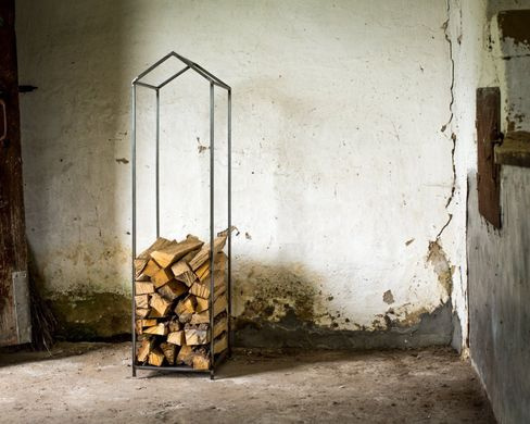 Firewood Holder // Log Storage for indoors // Hand welded Raw style // by Atelier Article, Gray