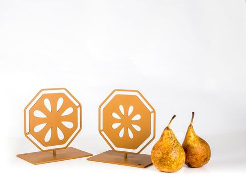 "Metal Bookends ""Pear Cut"". functional decor by Ateleir Article, Yellow"