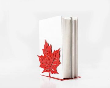 A metal bookend // Canadian Maple Leaf Red Metallic // by Atelier Article , Red