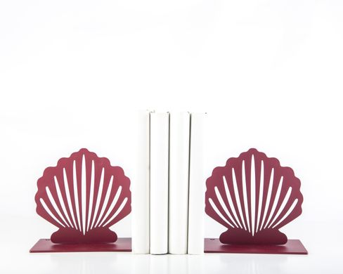 Metal Bookends «Red Shell» Functional Shelf decor by Atelier Article, Red