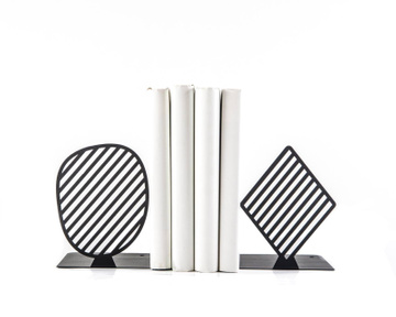 Geometrical bookends «Stipes Limited» black edition by Atelier Article, Black