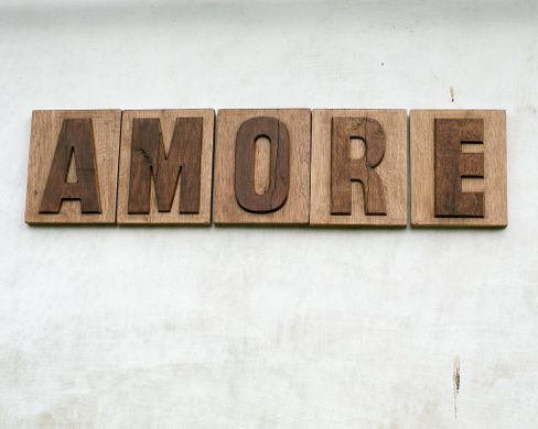 "Sign ""AMORE"" carved letters letter press style cool decor by Atelier Article, Assorted"