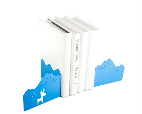 "Decorative Bookends ""Mountains and the Moose"" by Atelier Article, Blue"