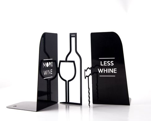 Metal Kitchen bookends «Less whine more wine» by Atelier Article, Black
