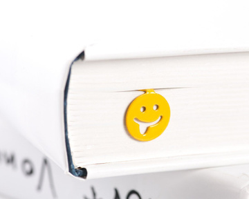 "Metal Bookmark ""Emoticon Smiley tongue out"" by Atelier Article, Yellow"