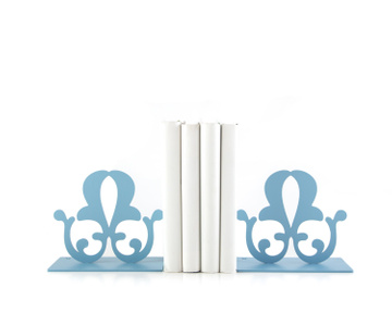 "Metal Bookends ""French Flower"" Functional Shelf Decor by Atelier Article, Blue"