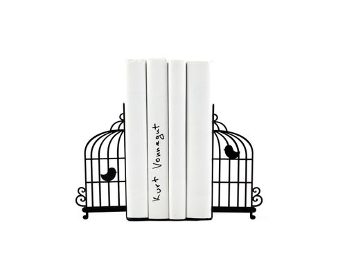 "Metal Bookends ""Birdcage"" by Atelier Article, Black"